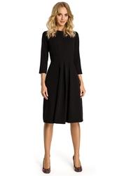Sukienka midi z kontrafałdami z przodu czarna m335