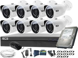 Monitoring zestaw do rozbudowy 8x bcs-tq3200ir-e rejestrator bcs-xvr1601-iii dysk 1tb