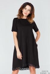 Czarna Rozkloszowana Sukienka Wykończona Koronką