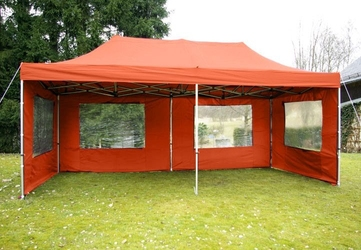 Pawilon ogrodowy 3 x 6 m, pomarańczowy namiot handlowy ze ściankami