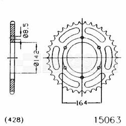 Zębatka tylna stalowa JT 50-15063-52, 52Z, rozmiar 428 2301974 Hyosung GT 125