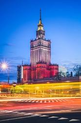 Warszawa Kolory Pałac Kultury - plakat premium Wymiar do wyboru: 29,7x42 cm