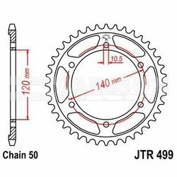 Zębatka tylna stalowa JT 499-40, 40Z, rozmiar 530 2301191 Kawasaki VN 800, ZZR 600