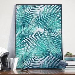Plakat w ramie - palm paradise , wymiary - 50cm x 70cm, ramka - czarna
