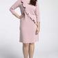 Jasnoróżowe klasyczna sukienka z asymetryczną falbanką plus size