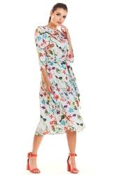 Ecru Wzorzysta Klasyczna Sukienka z Rękawem 34