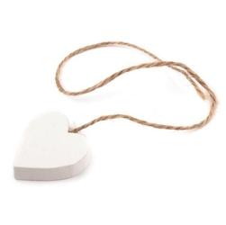 Drewniane serce na sznurku - białe - bia