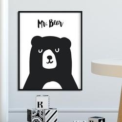 Mr. bear - plakat dla dzieci , wymiary - 20cm x 30cm, kolor ramki - czarny