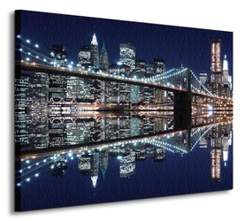 New york brooklyn bridge night - obraz na płótnie