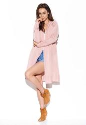 Niezapinany długi sweter z koronką - pudrowy