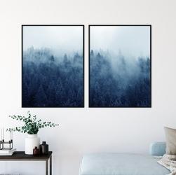 Zestaw dwóch plakatów - night forest , wymiary - 60cm x 90cm 2 sztuki, kolor ramki - biały