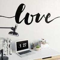 Love - naklejka ścienna w skandynawskim stylu , kolor naklejki - czarna, wymiary naklejki - 240cm x 60cm