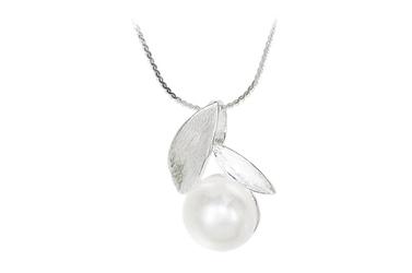 Srebrny wisiorek z perłą matowane srebro