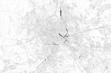 Rzym - czarno-biała mapa miasta - fototapeta