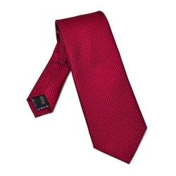 Opalizujący czerwony jedwabny krawat w kratkę DŁUGI