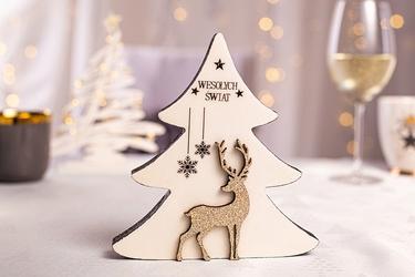 Figurka  ozdoba  dekoracja świąteczna drewniana święta boże narodzenie altom design choinka z brokatowym reniferem 13,5 x 2,8 x 14,5 cm biała