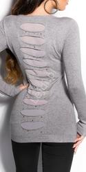 Sweter wełniany z jedwabiem  w kolorze szarym | tunika z kryształkami 8185