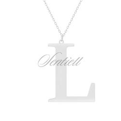 Srebrny naszyjnik pr.925 literka l - rodowanie  l