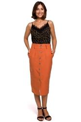 Pomarańczowa midi spódnica zapinana na guziki