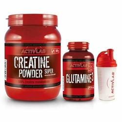 Creatine Powder - 500g + Glutamine 3 - 128cap + Shaker - Blackcurrant