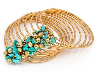 Bransoletka koła złota turkusowa kamienie - TURKUSOWA