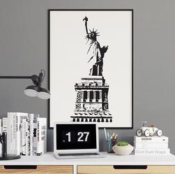 Statua wolności - plakat w stylu vintage , wymiary - 70cm x 100cm, kolor ramki - czarny