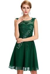 Zielona sukienka na wesele, komunie, połowinki, poprawiny z perłami