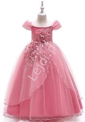 Długa sukienka dla małej druhny w kolorze pustynnego różu 213