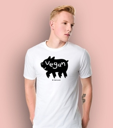 Vegan t-shirt męski biały l