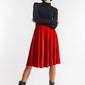 Rozkloszowana spódnica z weluru czerwona