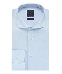 Elegancka błekitna koszula męska taliowana, slim fit, włoski kołnierzyk 45