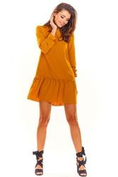 Kamelowa Trapezowa Sukienka Mini z Rękawem 34