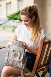 Plecak damski z materiału - kodury beżowy ga67 - beżowy