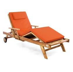 Leżak ogrodowy z drewna teakowego pomarańczowa