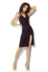 Czarna sukienka koktajlowa z wiązanym ramiączkiem