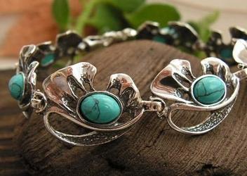 Blumila - srebrna bransoletka z turkusem