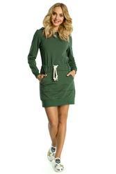 Dresowa mini sukienka z kapturem khaki m352