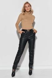 Czarne klasyczne spodnie z imitacji skóry