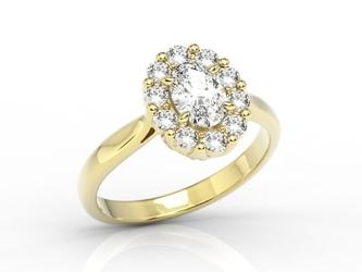 Pierścionek zaręczynowy z białym topazem swarovski i diamentami bp-57z - żółte  topaz white