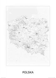 Polska, black and white - mapa