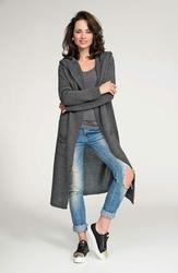 Grafitowy Długi Sweter Maxi z Kapturem