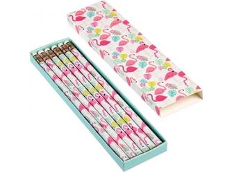 FLAMINGI zestaw ołówków z gumką HB w pudełeczku 6 szt.