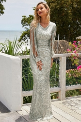 Cekinowa srebrna długa suknia wieczorowa z beżową podszewką 992