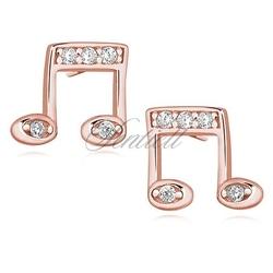 Srebrne kolczyki pr. 925 nuty z cyrkoniami, różowe złoto - różowe złoto