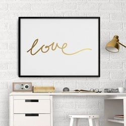 Love - plakat minimalistyczny ze złotym nadrukiem , wymiary - 70cm x 100cm, kolor ramki - czarny, kolor nadruku - złoty