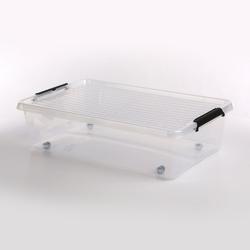 Pojemnik do przechowywania rzeczy  zabawek z pokrywką na kółkach orplast simple store 29 l