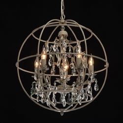 Oświetlenie w stylu loft w formie klatki-kuli ozdobionej kryształami regenbogen 104011805
