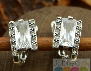 Srebrne kolczyki z kryształkami - spring