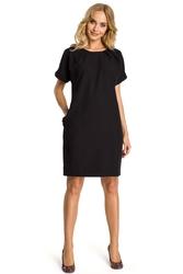 Czarna sukienka z krótkim reglanowym rękawem