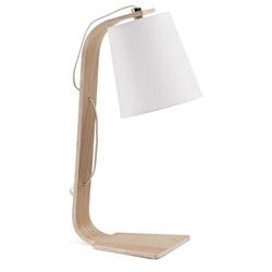 Drewniana lampa biurkowa percy biała